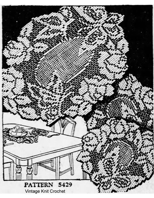 Vintage 1930s Filet Crochet Doilies Pattern Design 5429