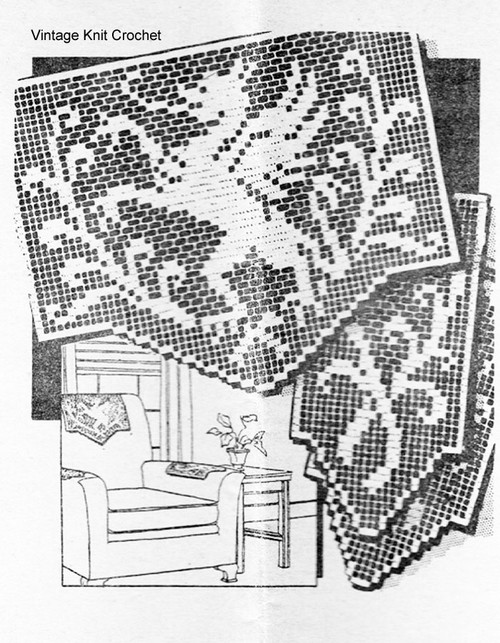Filet Crocheted Dragon Chair Doily Pattern, Laura Wheeler 1224
