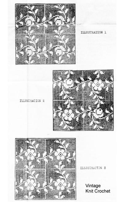 Filet Crochet Rose Squares Illustration, Laura Wheeler 1410