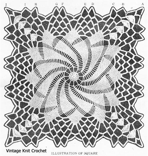Pinwheel Square Crochet Pattern Illustration for Design 3099