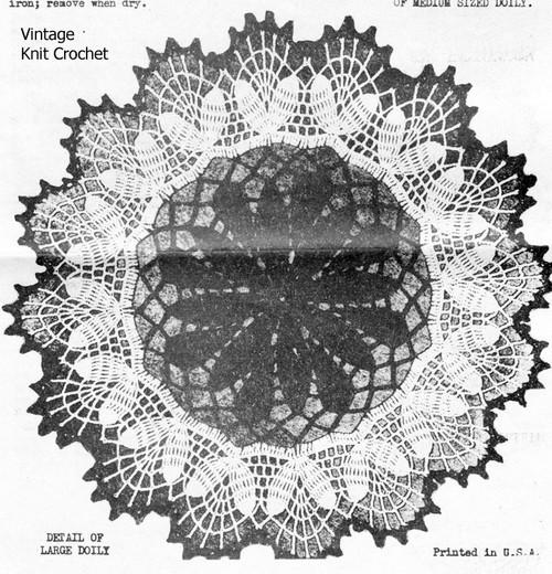 Vintage Crochet Flower Doily Pattern Illustration, Mail Order 6436
