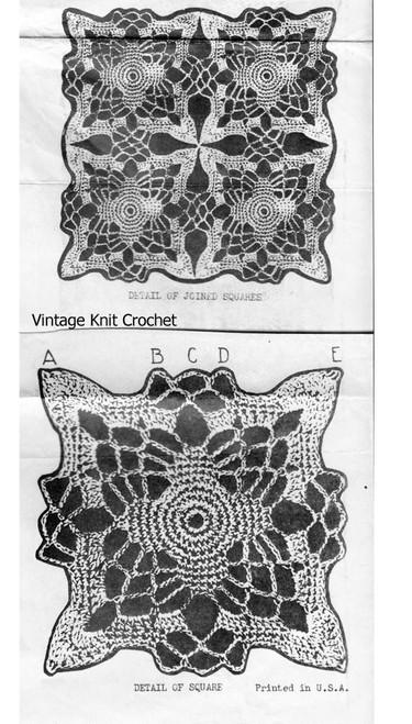 Vintage Crochet Square Pattern Stitch Illustration, Alice Brooks 6052