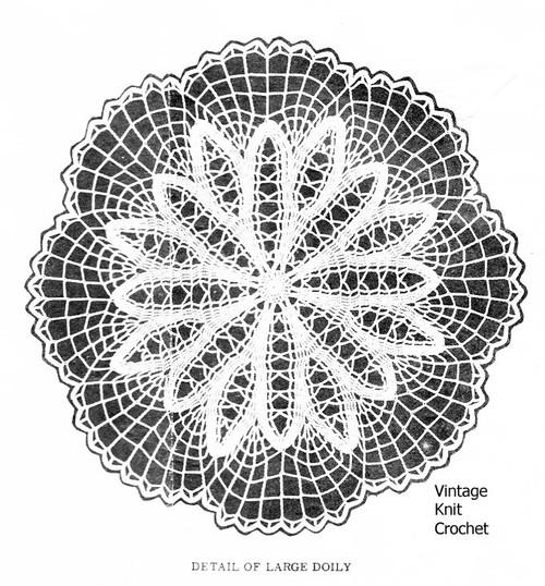 Crochet Flower Doily Pattern Illustration, Laura Wheeler 752