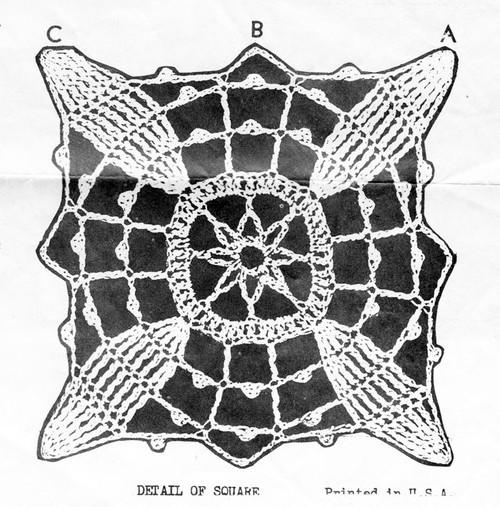 Vintage Crochet Dogwood Square Pattern Illustration, Alice Brooks 6420
