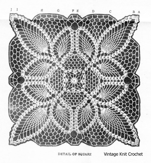 Alice Brooks Pineapple Square Crochet Illustration No 7432