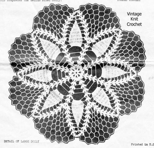 Large Pineapple Wheel Doily Crochet Pattern, Alice Brooks 6753