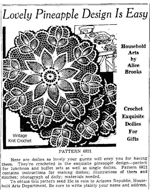 Alice Brooks Crochet Flower Doily Pattern 1941 Newspaper Advertisement