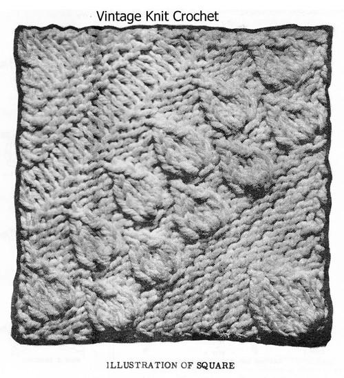 Flower Leaf knitted bedspread pattern squares, Design 7197