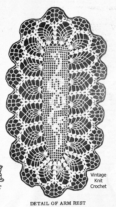 Small pineapple runner filet crochet pattern No 604