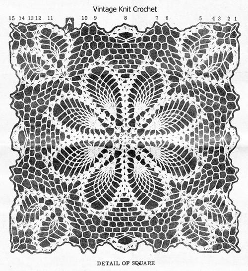 Alice Brooks 7459, Crochet Pineapple Square Pattern Illustration