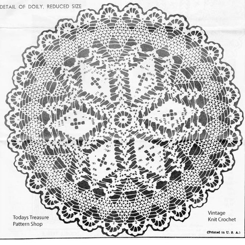 Crochet Centerpiece Doily Pattern, Cross and Crown No 5398