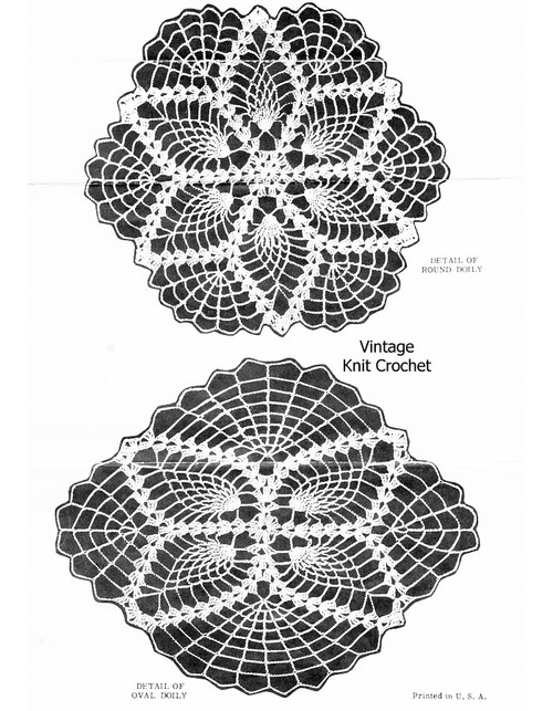 Small oval crochet pineapple doilies pattern, Alice Brooks 7500
