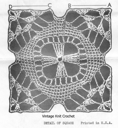 Crochet square pattern measures 3 or 4-1/2 inches, Mail Order Design 6327