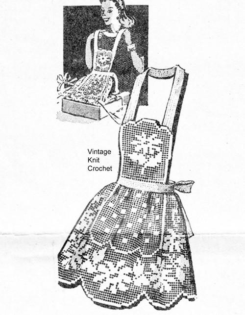 Filet Apron Pattern, Daisy motif in half or full, Mail Order Design 7232