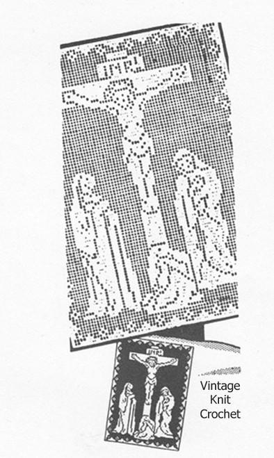 Vintage Filet Crochet The Crucifixion Wall Panel Design 5125