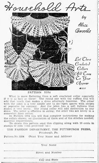 Alice Brooks 5354 Three Crocheted Collars Newspaper Ad, Vintage 1934