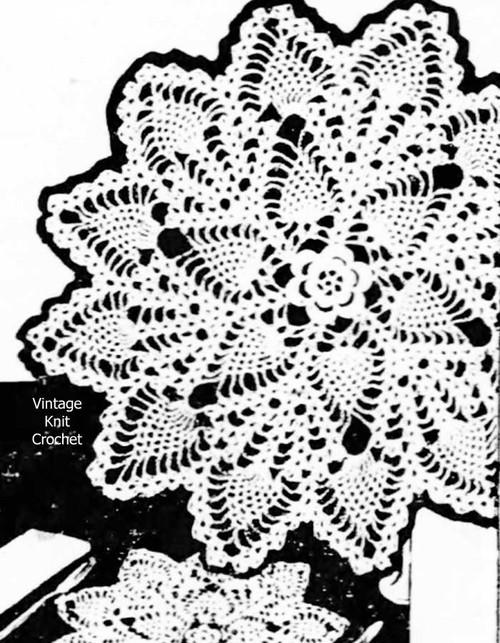 Medium Crochet Pineapple Doily Pattern, Mail Order E-1060