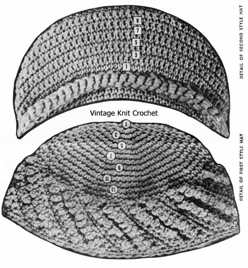Crochet hats pattern stitch detail, Design 742