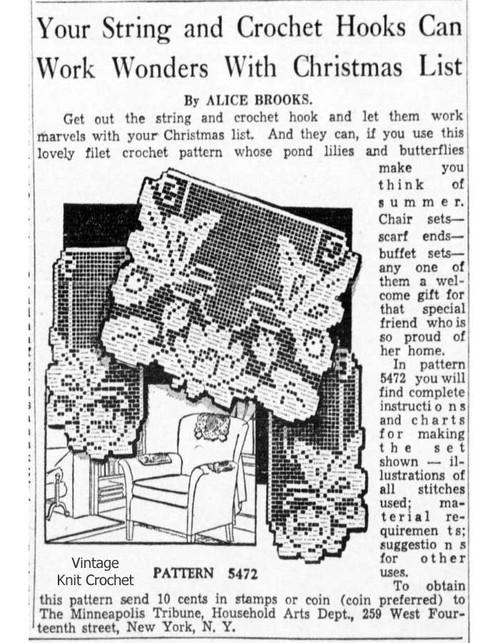 Alice Brooks 5472 Filet Butterfly Newspaper Advertisement