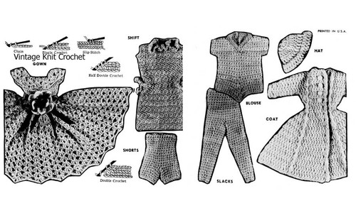 Crochet Fashion Doll Wardrobe, Alice Brooks Design 7511
