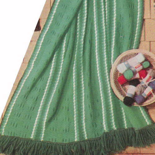 Vintage Afghan Knitting Pattern with Narrow Stripes and Fringe