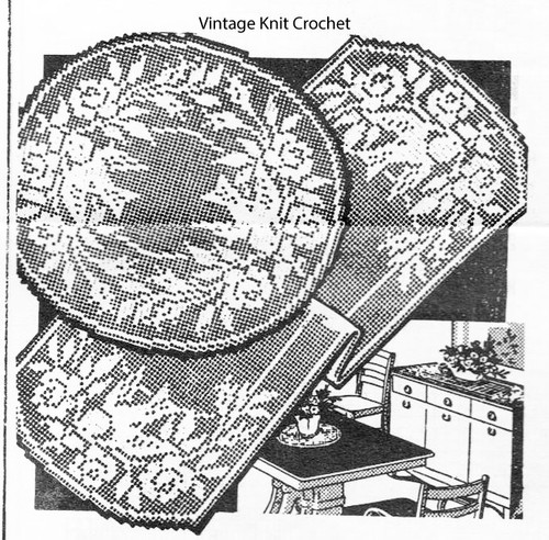 Peggy Roberts Filet Crochet Doily Runner pattern no 2059