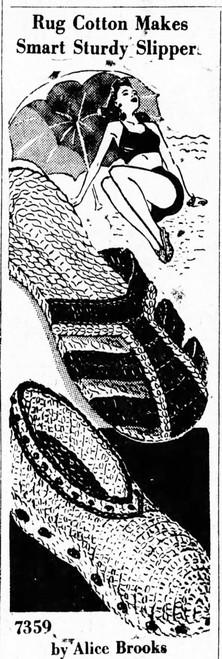 Crochet Rag Slippers Pattern, Vintage 1942, Design 7359