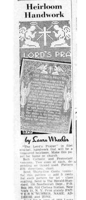 Laura Wheeler 879, The Lords Prayer newspaper advertisement