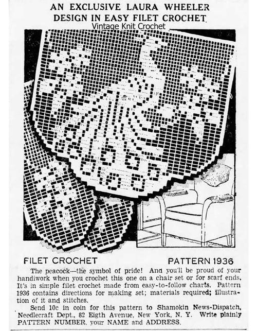 Vintage Laura Wheeler 1936 Filet Peacock Newspaper Advertisement