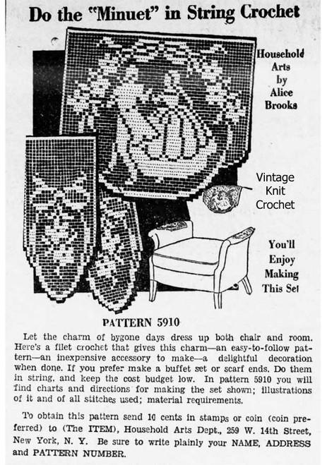 Vintage Alice Brooks 5910, Minuet Dancers Filet Crochet Newspaper Advertisement