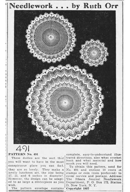 Ruth Orr No 491 Crochet Doilies Newspaper Advertisement from 1937
