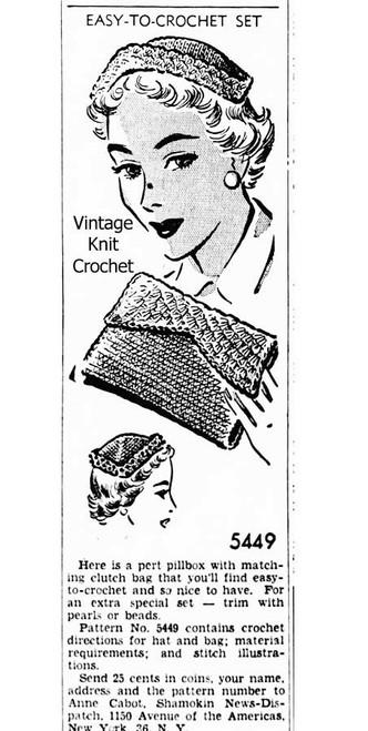 Anne Cabot 5449, Pillbox & Clutch Newspaper Advertisement