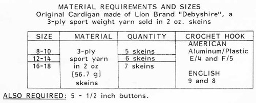 Mail Order Crochet Cardigan Pattern Design 7373