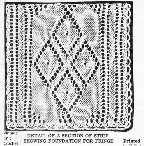 Diamond Motif Knitted Bedspread Pattern Design 7050