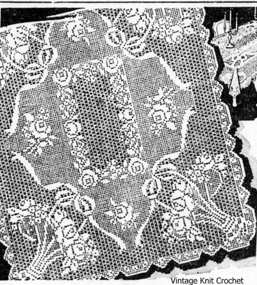 Heirloom Filet Crochet Tablecloth Pattern, Alice Brooks 6748