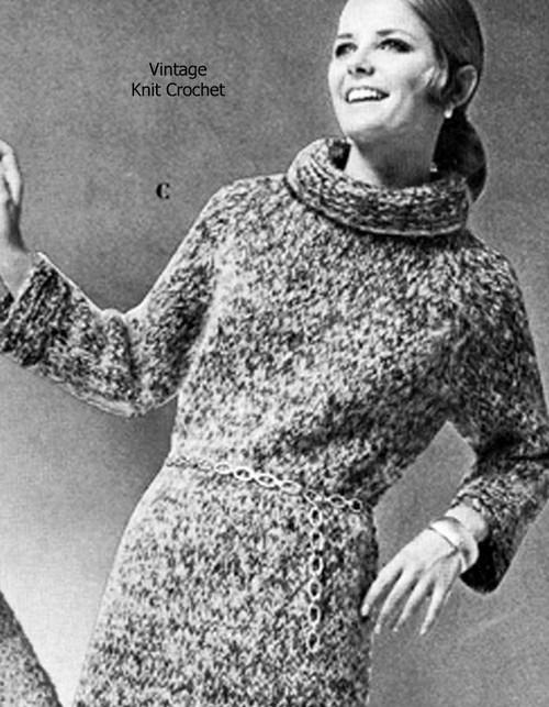 Easy Turtleneck Dress Knitting Pattern Vintage 1950s