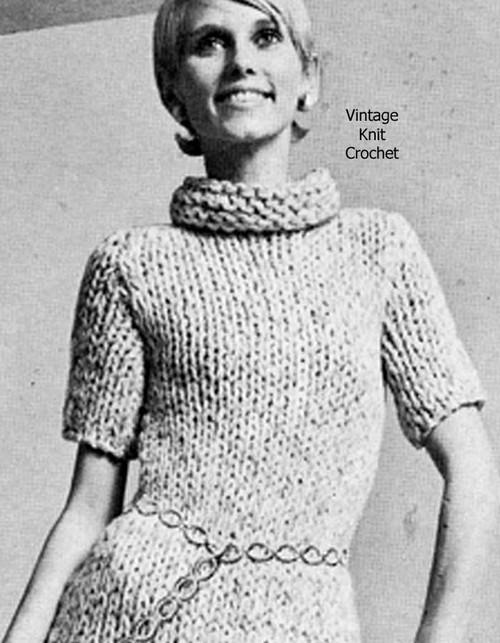 Jiffy Knit Crochet Dress Pattern, Vintage 1950s