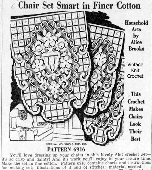 Filet Rose Flower Urn crochet pattern, Alice Brooks 6916