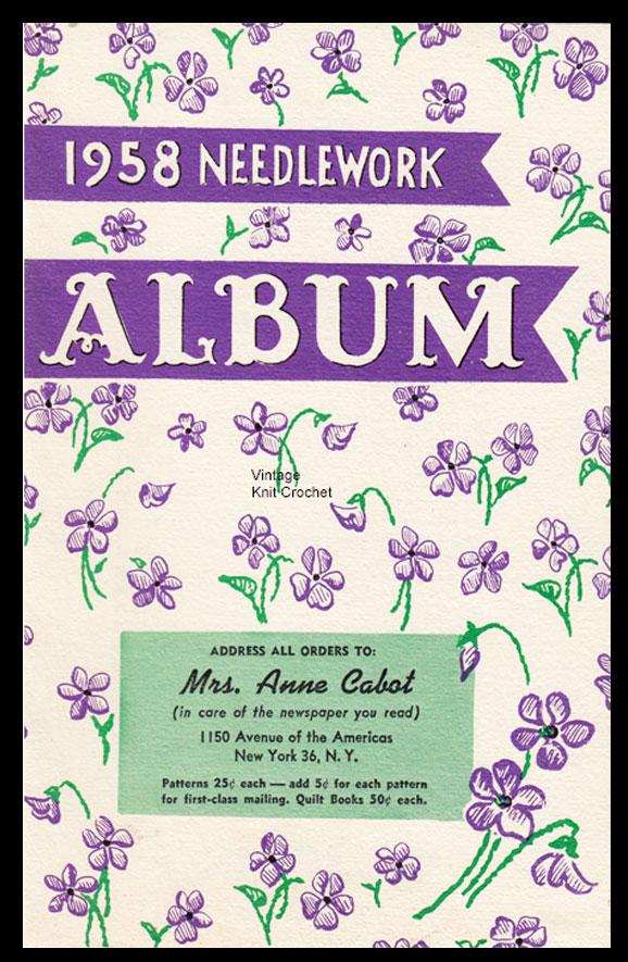 Anne Cabot Needlework Album 1958 patterns