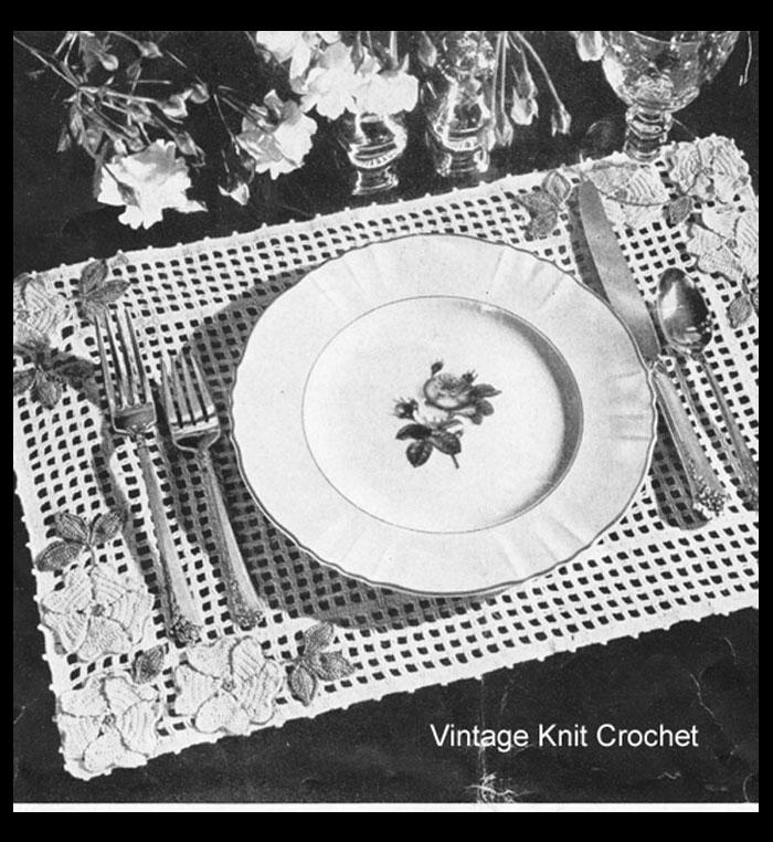Free Crochet Placemat Pattern, Wild Rose Motif