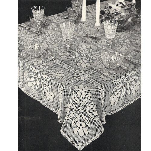 Shadow Filet Crochet Iris Flower Table Cloth Pattern 7584
