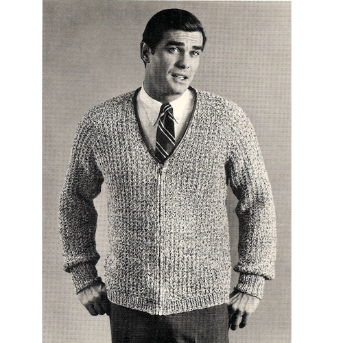 Mens V Neck Front Zip Knitted Cardigan Pattern S M L