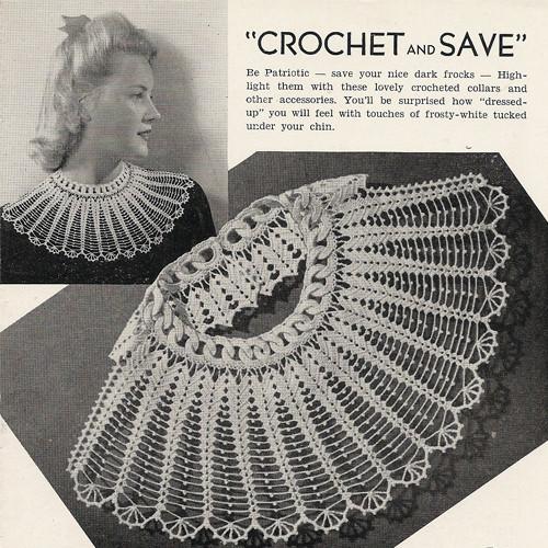 Large Scallop Crochet Collar Pattern Vintage 1940s