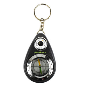 Munkees Small Compass and Thermometer Keychain