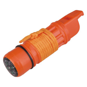 5-Function Whistle, Whistle, Compass, Signal Mirror, Flint, Capsule