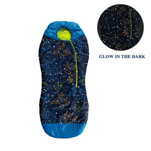 AceCamp Kids Glow In The Dark Sleeping Bag Blue Mummy Style for Boys