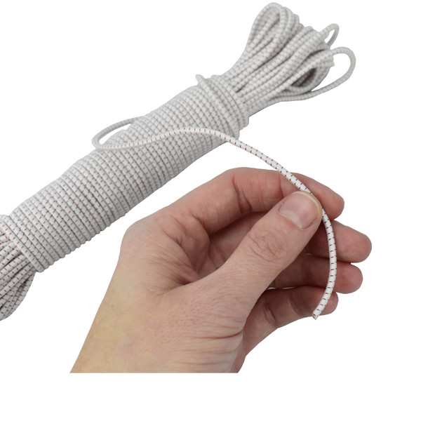 bungee elastic cord in a hand for size reference
