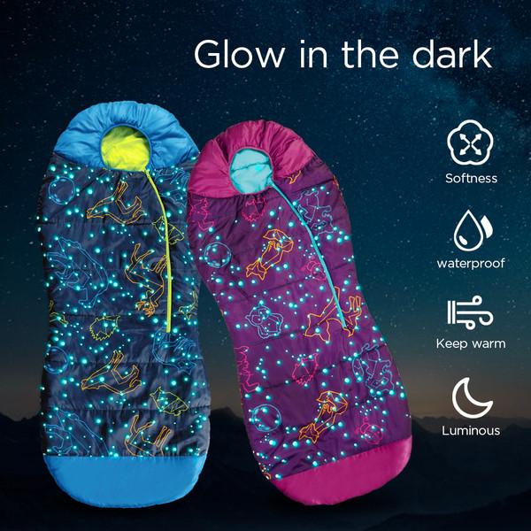 AceCamp Kids Glow-In-The-Dark Sleeping Bag Blue Mummy