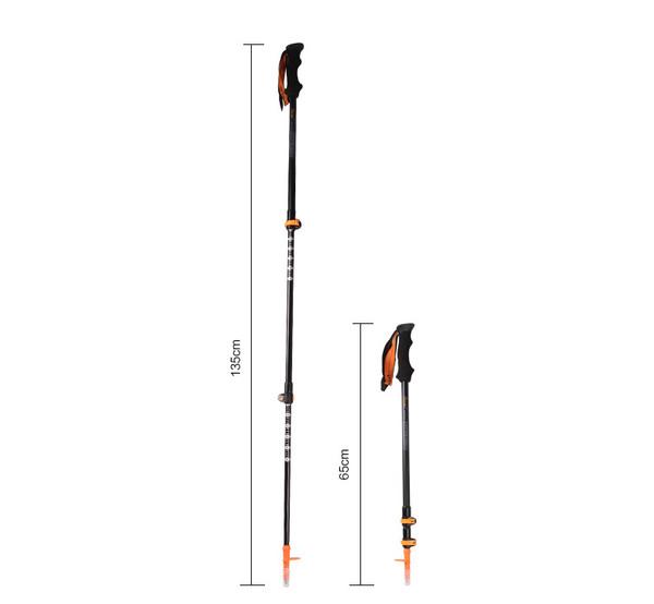 80% Carbon External Lock Trekking Pole Telescopic Ultralight Hiking Walking Stick
