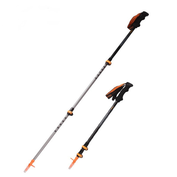 Retractable 3 Sections Aluminum Alloy Climbing Hiking Walking Stick External Lock Trekking Pole